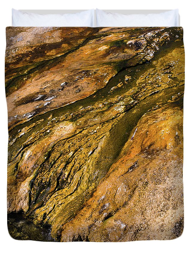 Wyoming Duvet Cover featuring the photograph Geyser Basin Springs by Tracy Knauer
