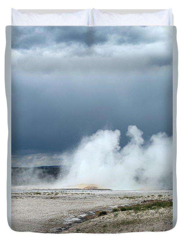Geyser Duvet Cover featuring the photograph Geyser Field by Linda Kerkau