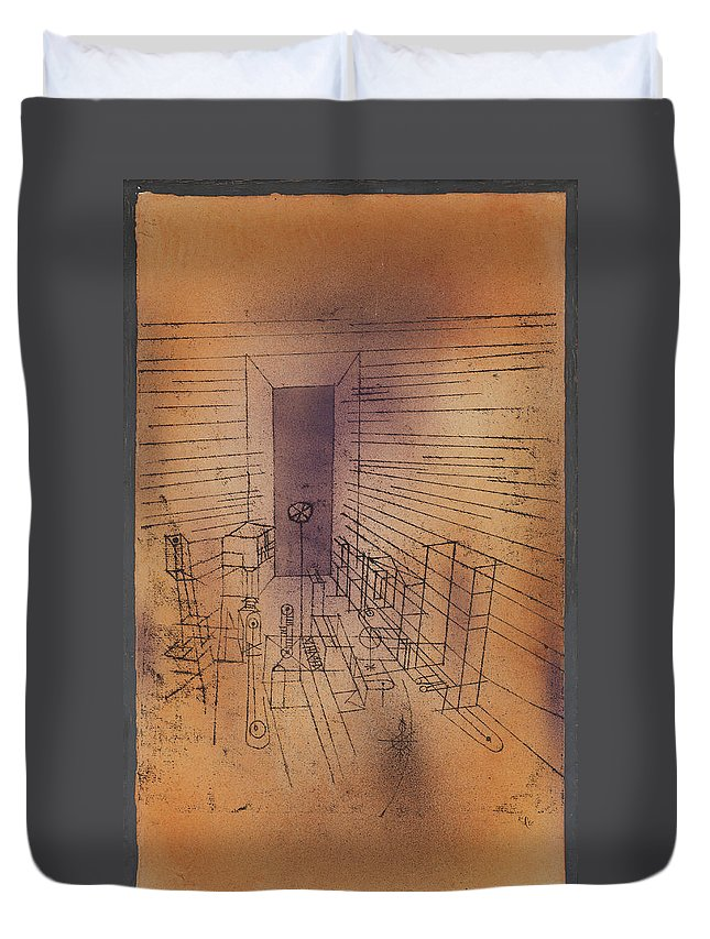 Paul Klee Ghost Chamber With The Tall Door New Version Duvet Cover featuring the painting Ghost Chamber With The Tall Door New Version by Paul Klee