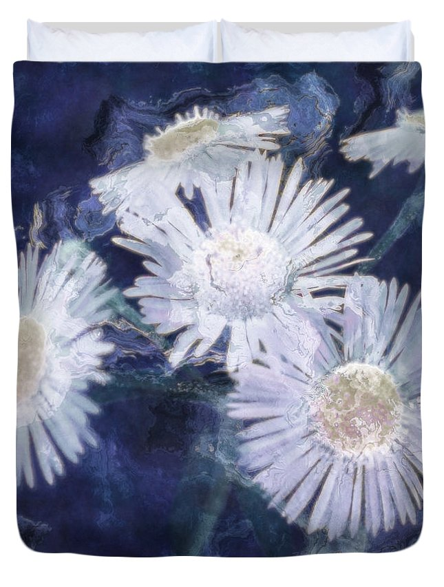 Asters Duvet Cover featuring the painting Ghost Flowers by RC deWinter