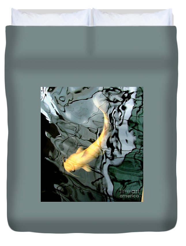 Ghost Duvet Cover featuring the photograph Ghost Koi Carp Fish by Heather Lennox