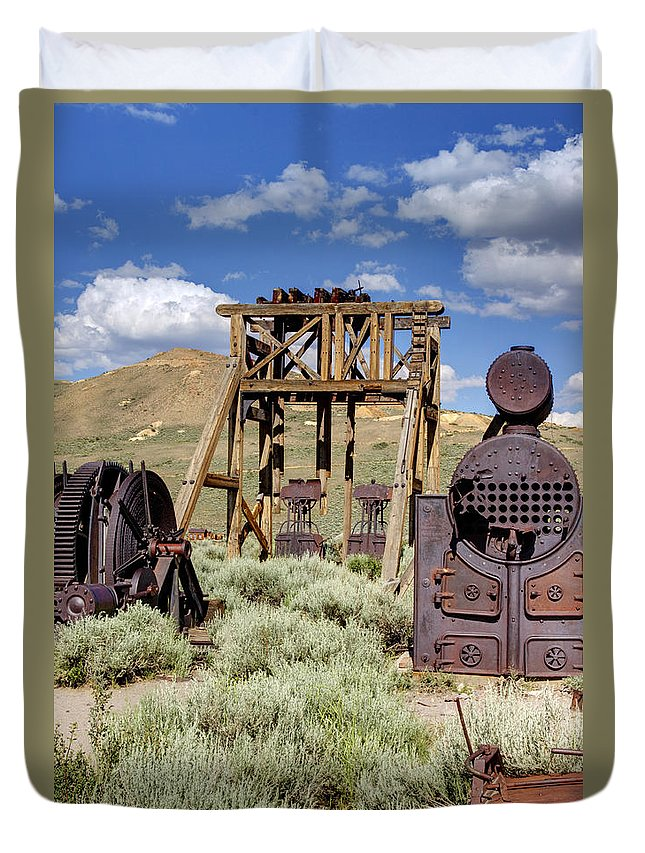 Bodie Duvet Cover featuring the photograph Ghost Mine by Ricky Barnard