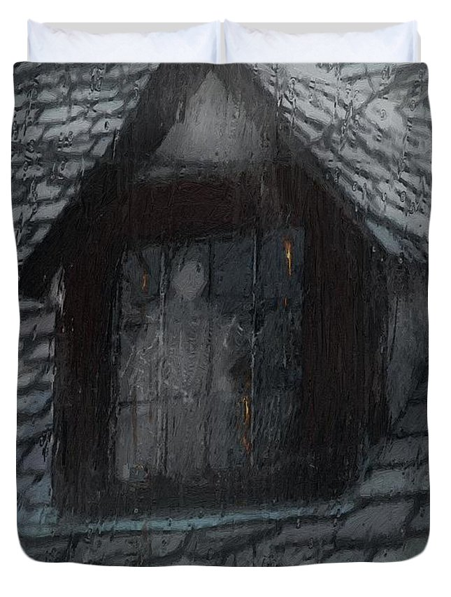 Ghost Duvet Cover featuring the painting Ghost Rain by RC DeWinter