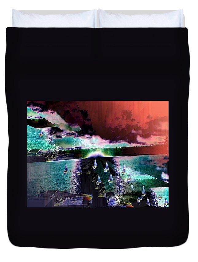 Seattle Duvet Cover featuring the digital art Ghost Regatta by Tim Allen