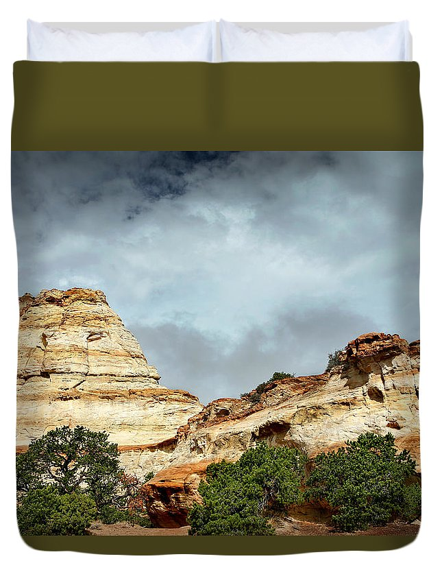 Landscape Duvet Cover featuring the photograph Ghost Rocks by Lon Casler Bixby