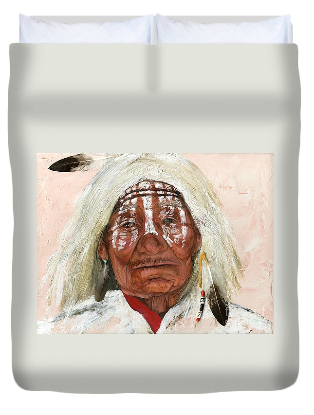 Southwest Art Duvet Cover featuring the painting Ghost Shaman by J W Baker