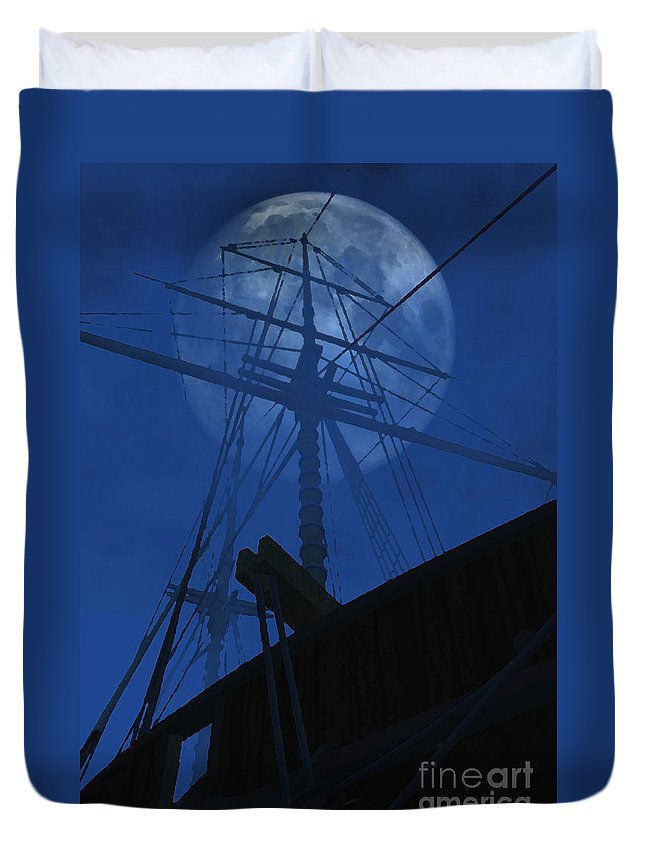 Ghost Ship Duvet Cover featuring the digital art Ghost Ship by Richard Rizzo
