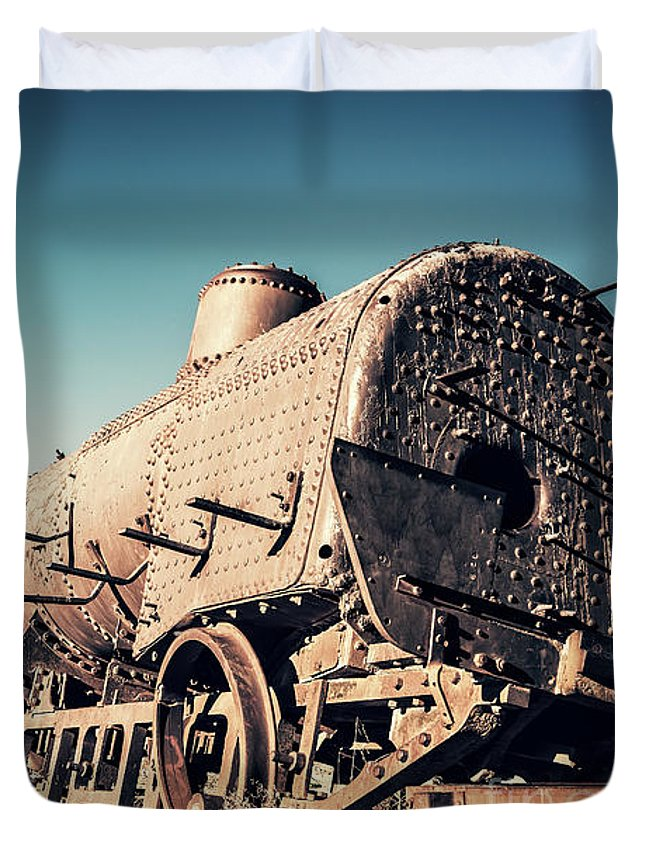 Train Duvet Cover featuring the photograph Ghost Train In Uyuni, Bolivia by Delphimages Photo Creations