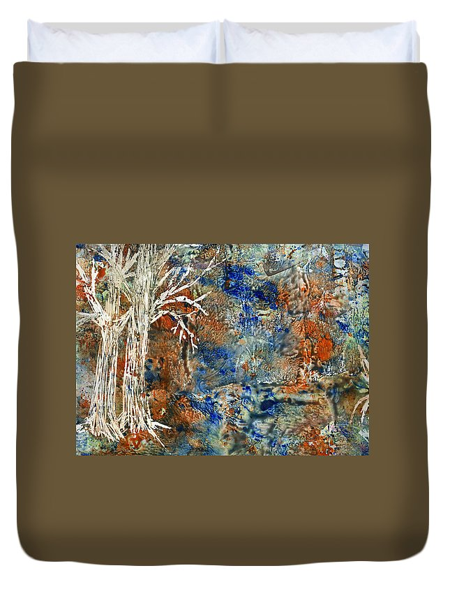 Trees Duvet Cover featuring the painting Ghost Trees by Wayne Potrafka