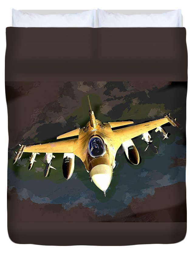 Plane Duvet Cover featuring the painting Ghostly Fighter Jet In The Sky Above The Earth by Elaine Plesser