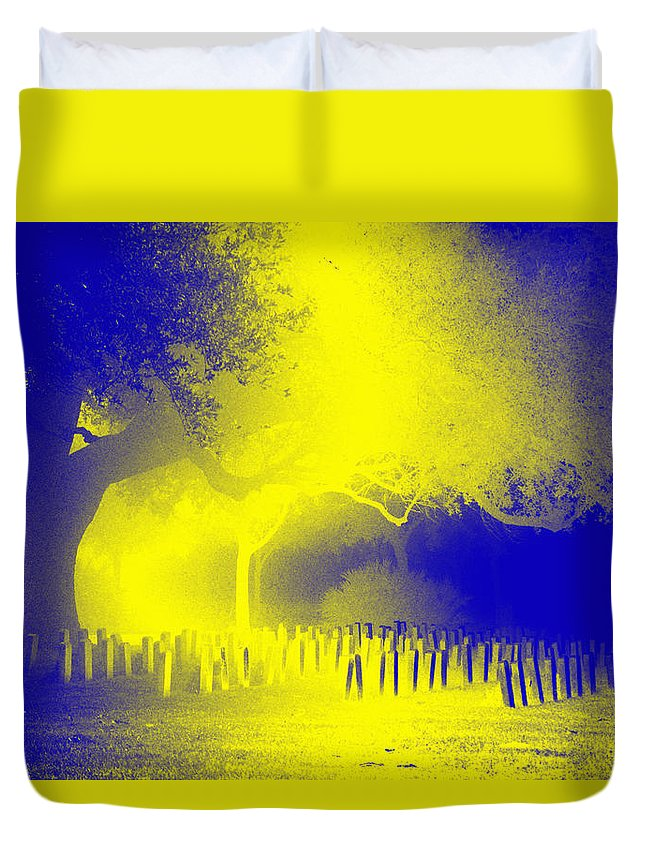 Cemetery Duvet Cover featuring the photograph Ghostsnightout by James Tannehill