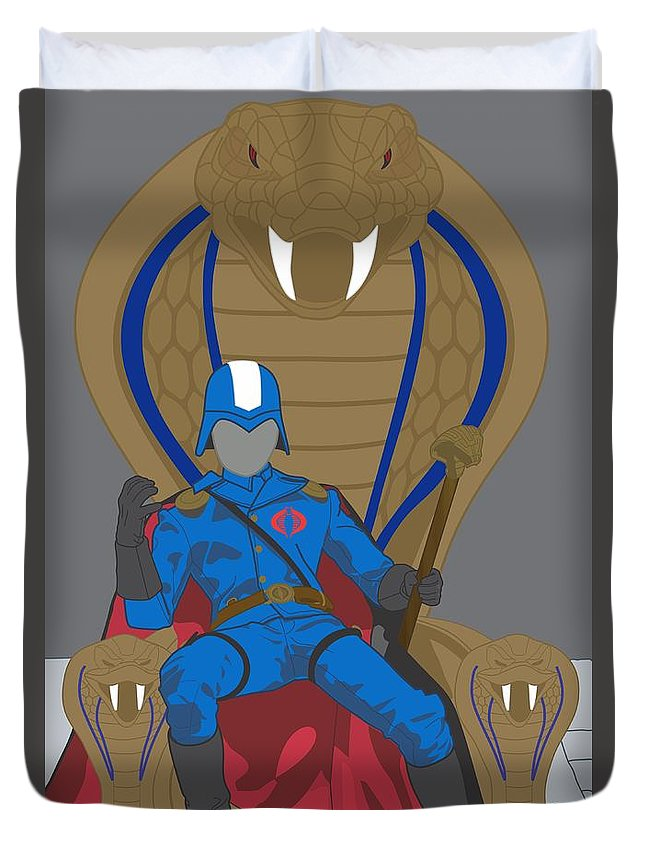 Cobra Commander Duvet Cover featuring the digital art Gi Joe - Cobra Commander by Troy Arthur Graphics