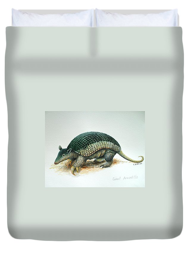 Giant Armadillo Duvet Cover featuring the painting Giant Armadillo by Christopher Cox