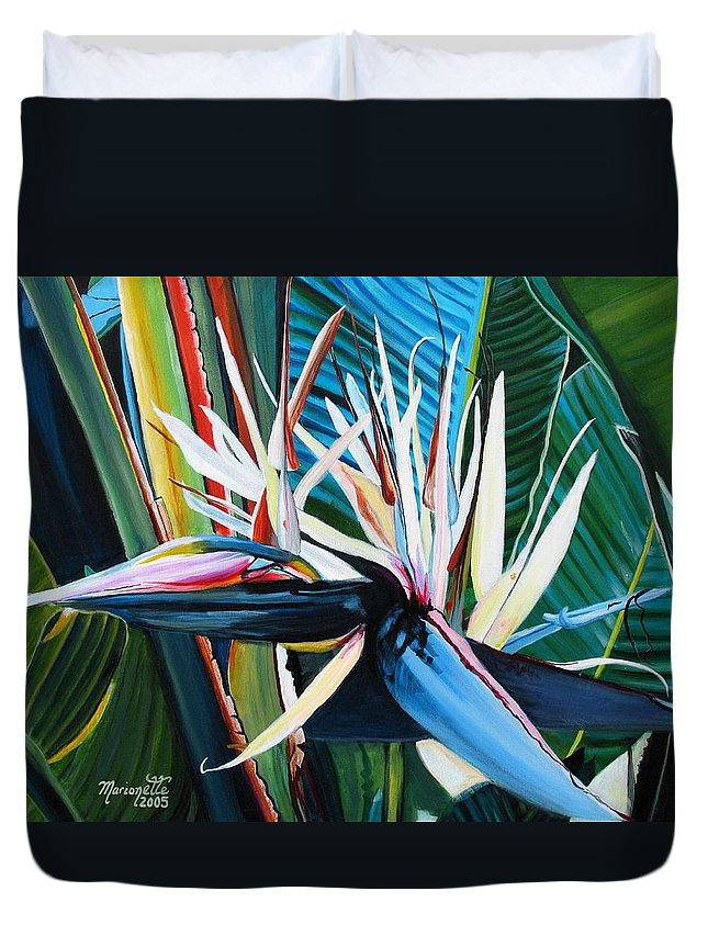 Bird Duvet Cover featuring the painting Giant Bird Of Paradise by Marionette Taboniar