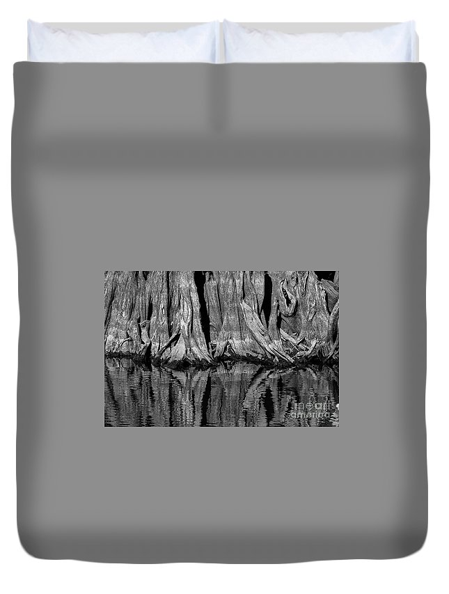 Reelfoot Lake State Park Duvet Cover featuring the photograph Giant Cypress Tree Trunk And Reflection 2 by Bob Phillips
