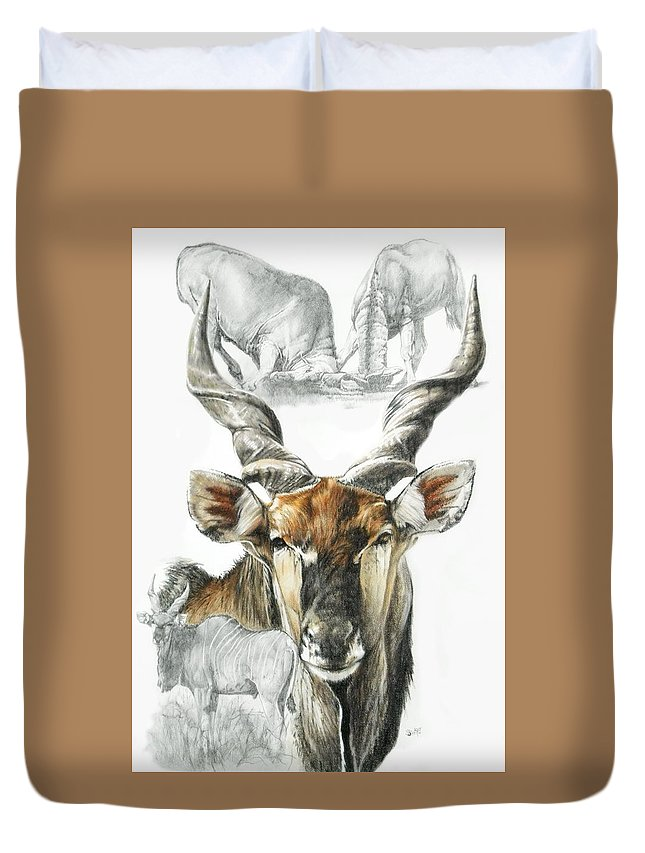 Antelope Duvet Cover featuring the mixed media Giant Eland by Barbara Keith