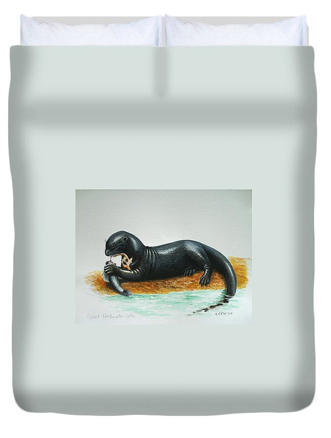 Giant River Otter Duvet Cover featuring the painting Giant River Otter by Christopher Cox