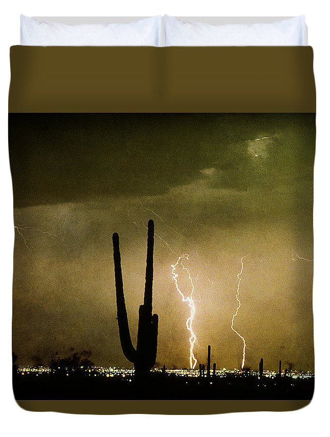 Lightning Duvet Cover featuring the photograph Giant Saguaro Southwest Lightning Peace Out by James BO Insogna