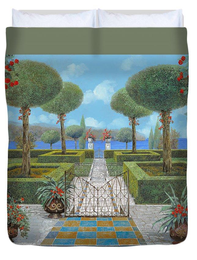Italian Garden Duvet Cover featuring the painting Giardino Italiano by Guido Borelli