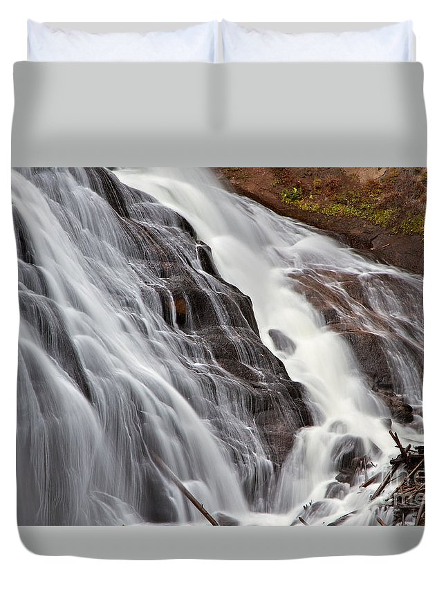 Gibbon Falls Duvet Cover featuring the photograph Gibbon Falls by Daryl L Hunter