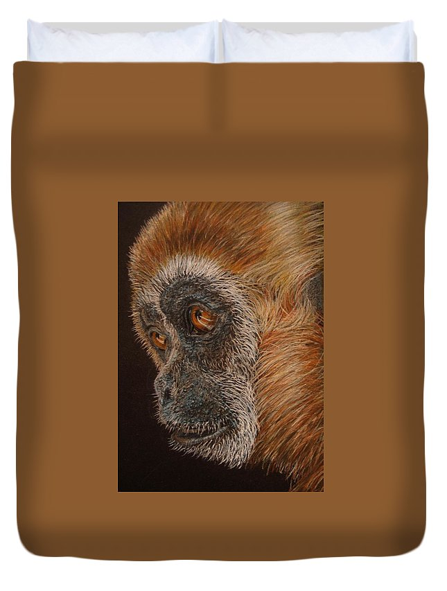 Animals Duvet Cover featuring the drawing Gibbon by Karen Ilari