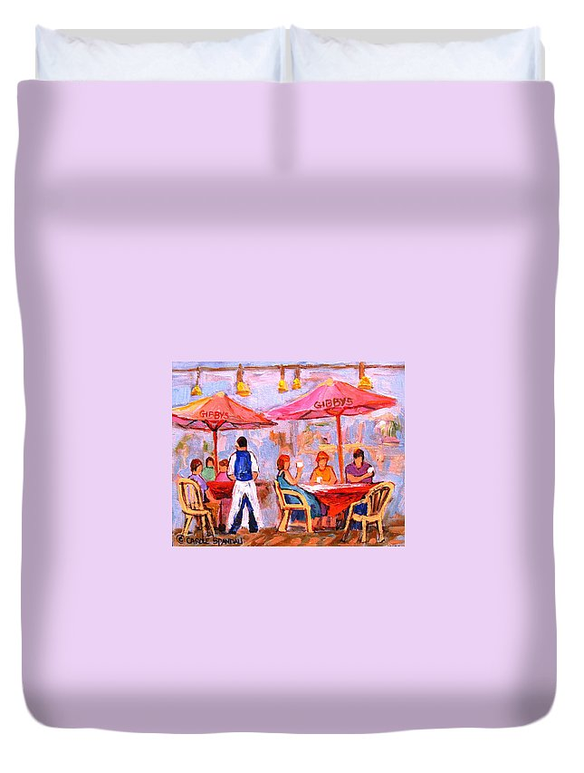 Gibbys Restaurant Montreal Street Scenes Duvet Cover featuring the painting Gibbys Cafe by Carole Spandau