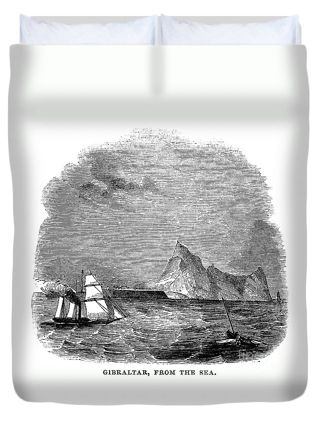 1843 Duvet Cover featuring the photograph Gibraltar, 1843 by Granger