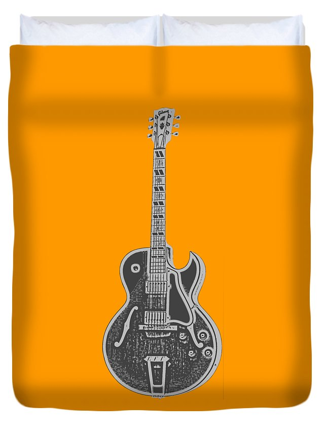 Instrument Duvet Cover featuring the digital art Gibson Es-175 Electric Guitar Tee by Edward Fielding