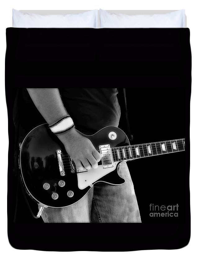 Gibson Duvet Cover featuring the photograph Gibson Les Paul Guitar by Randy Steele