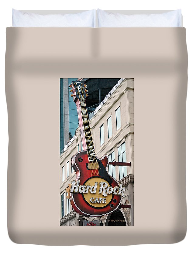 Guitar Duvet Cover featuring the digital art Gibson Les Paul Of The Hard Rock Cafe by DigiArt Diaries by Vicky B Fuller