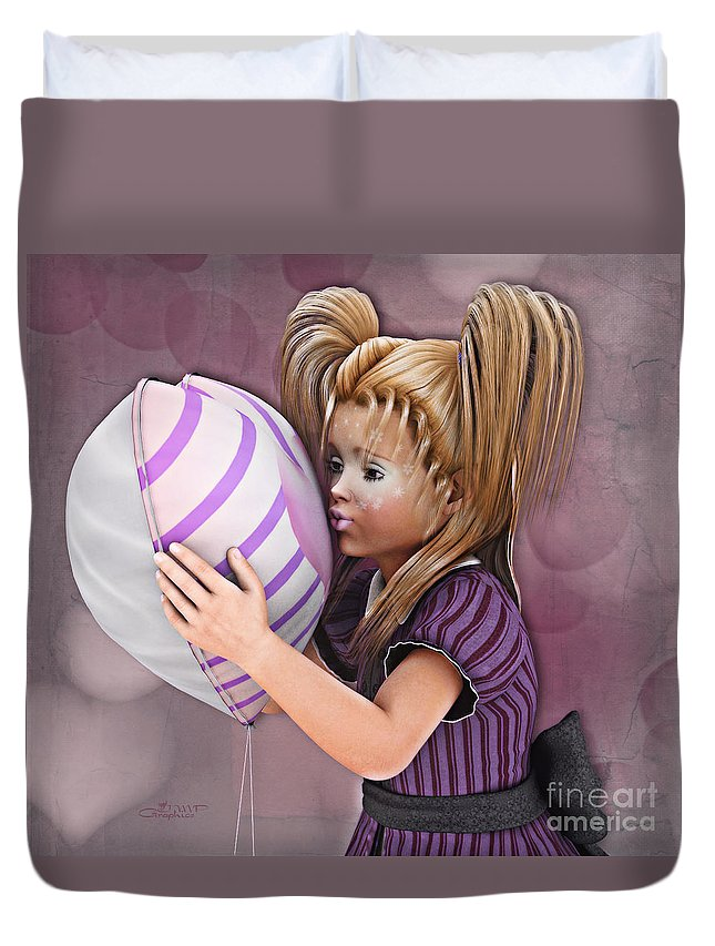 3d Duvet Cover featuring the digital art Gift From Daddy by Jutta Maria Pusl