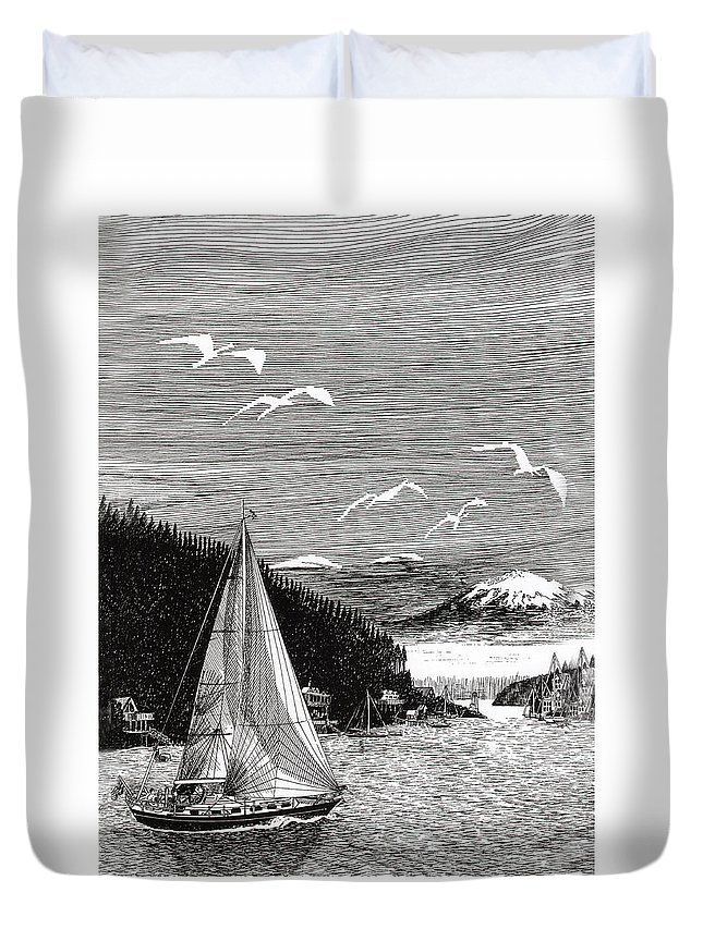 Yacht Portraits Duvet Cover featuring the drawing Gig Harbor Sailing School by Jack Pumphrey