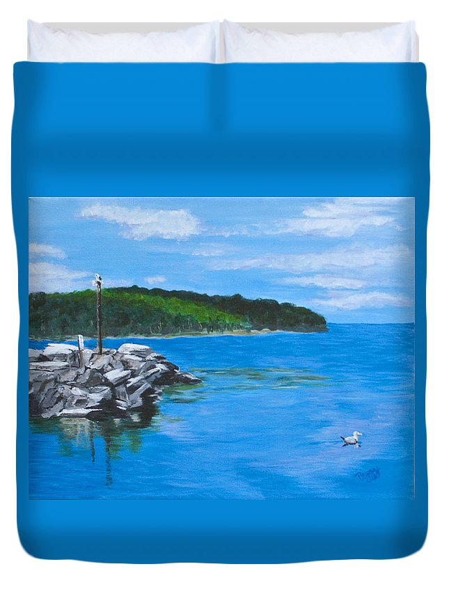 Gills Rock Duvet Cover featuring the painting Gills Rock by Peggy King