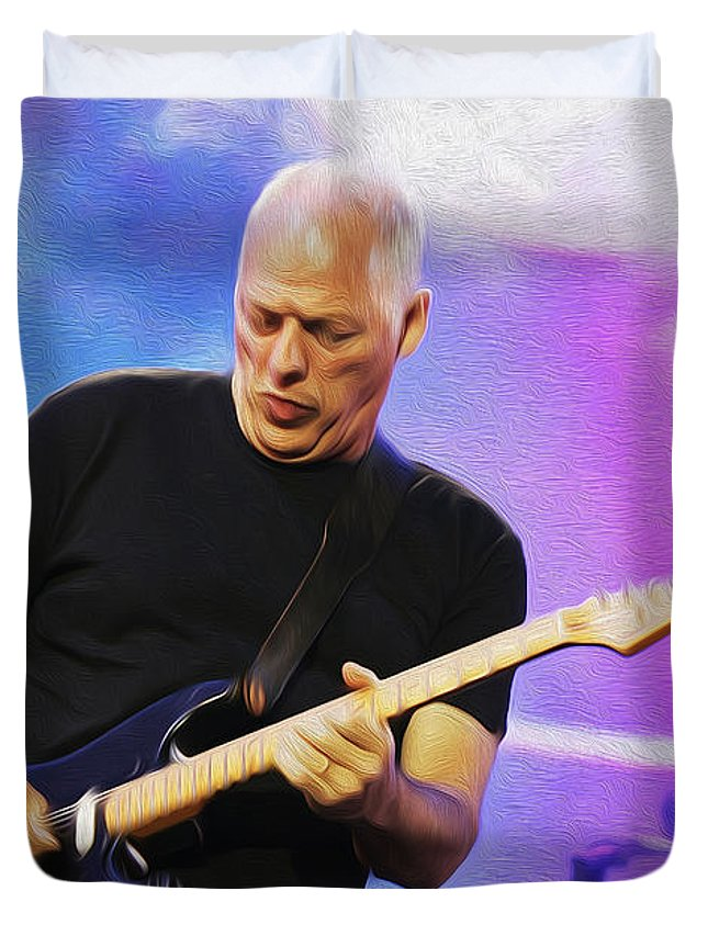 David Gilmour Duvet Cover featuring the painting Gilmour Maroon Nixo by Never Say Never