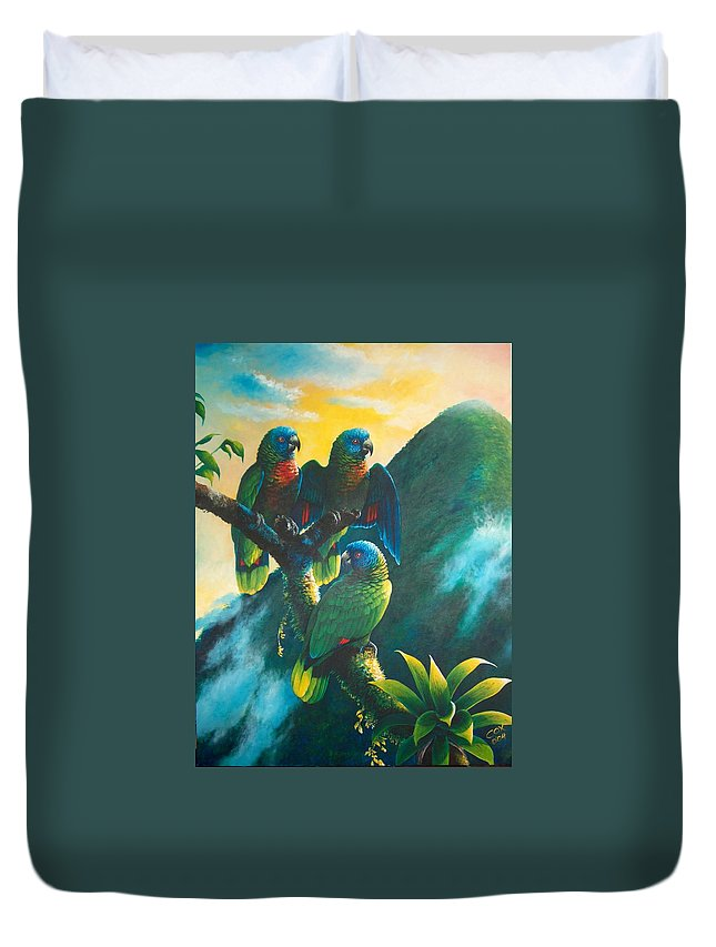 Chris Cox Duvet Cover featuring the painting Gimie Dawn 1 - St. Lucia Parrots by Christopher Cox