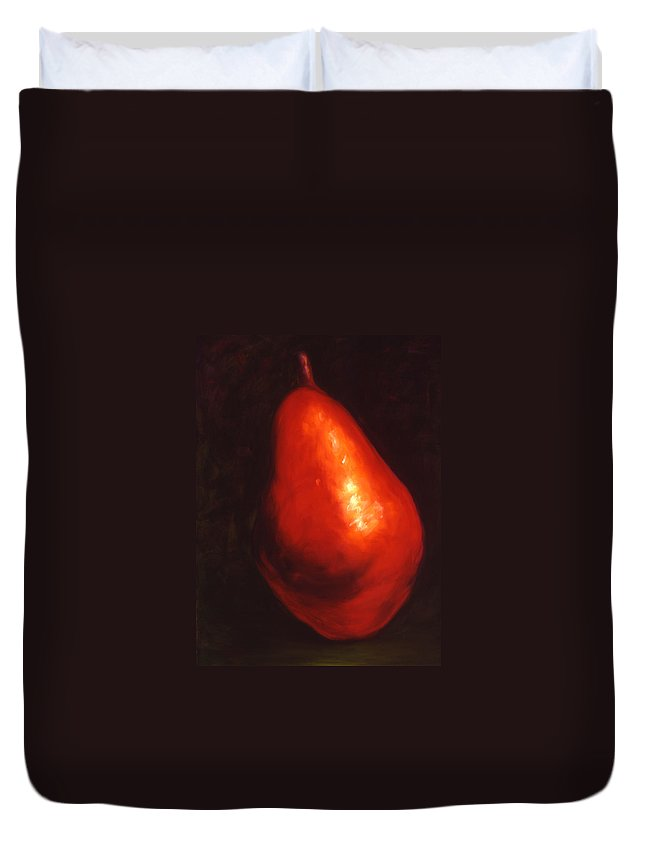 Pear Duvet Cover featuring the painting Gina by Shannon Grissom