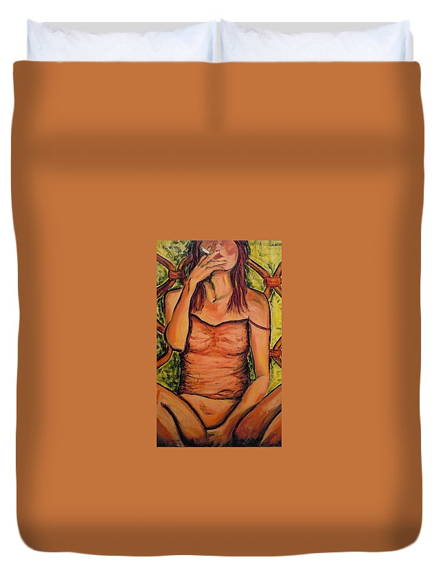 Woman Duvet Cover featuring the painting Gina The Smoking Woman by Ericka Herazo