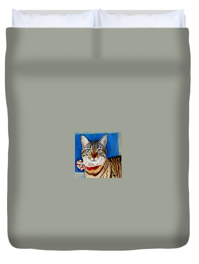 Cat Duvet Cover featuring the painting Ginger by Marilyn Jacobson