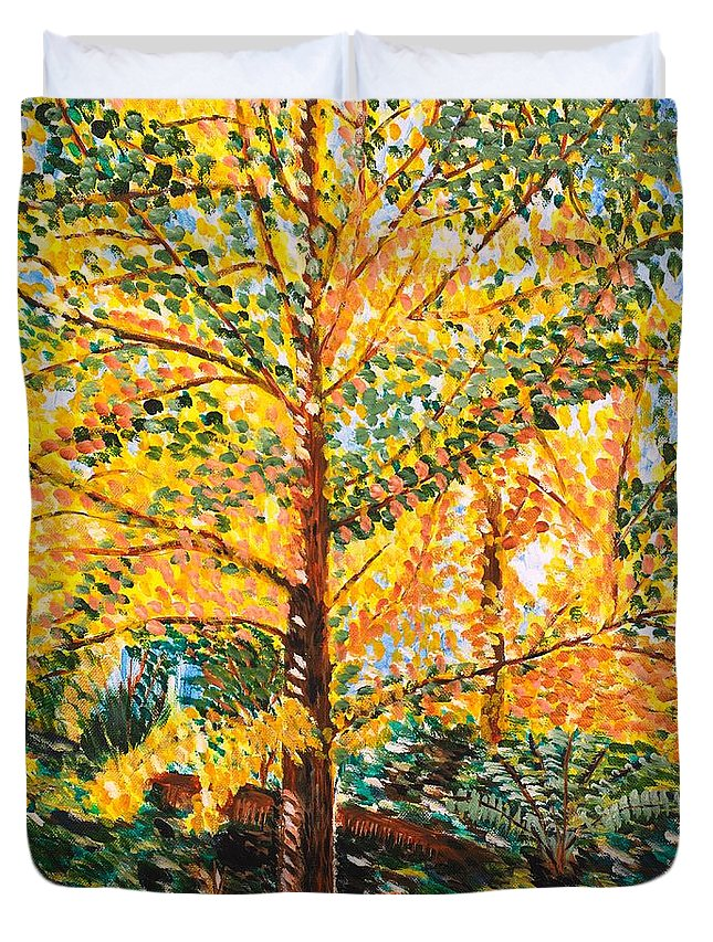 Tree Duvet Cover featuring the painting Gingko Tree by Valerie Ornstein