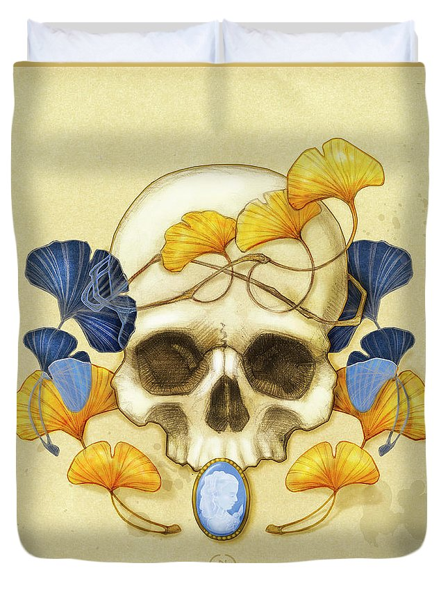 Ginkgo Duvet Cover featuring the digital art Ginkgo Relic by Catherine Noel