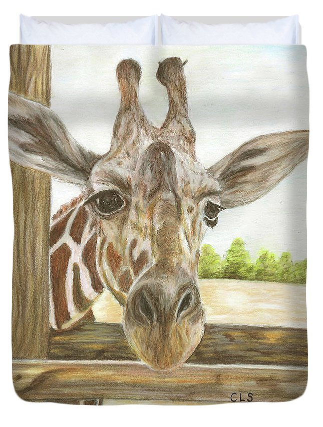 Giraffe Duvet Cover featuring the painting Giraffe by C L Swanner