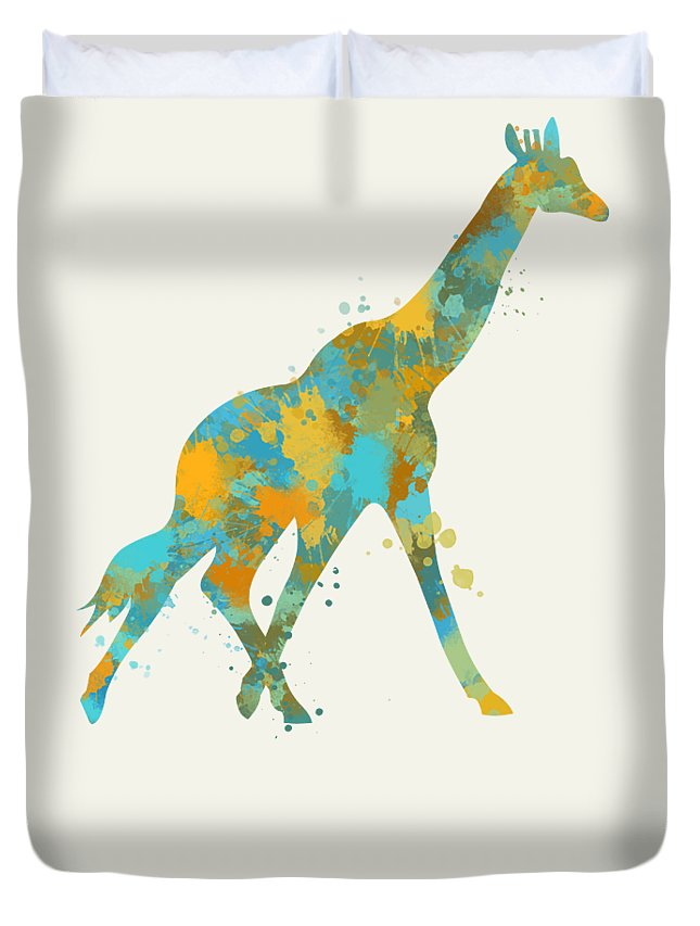 Giraffe Duvet Cover featuring the mixed media Giraffe Watercolor Art by Christina Rollo