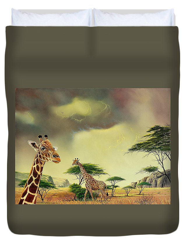 Landscape Duvet Cover featuring the painting Giraffes At Thabazimba by Don Griffiths