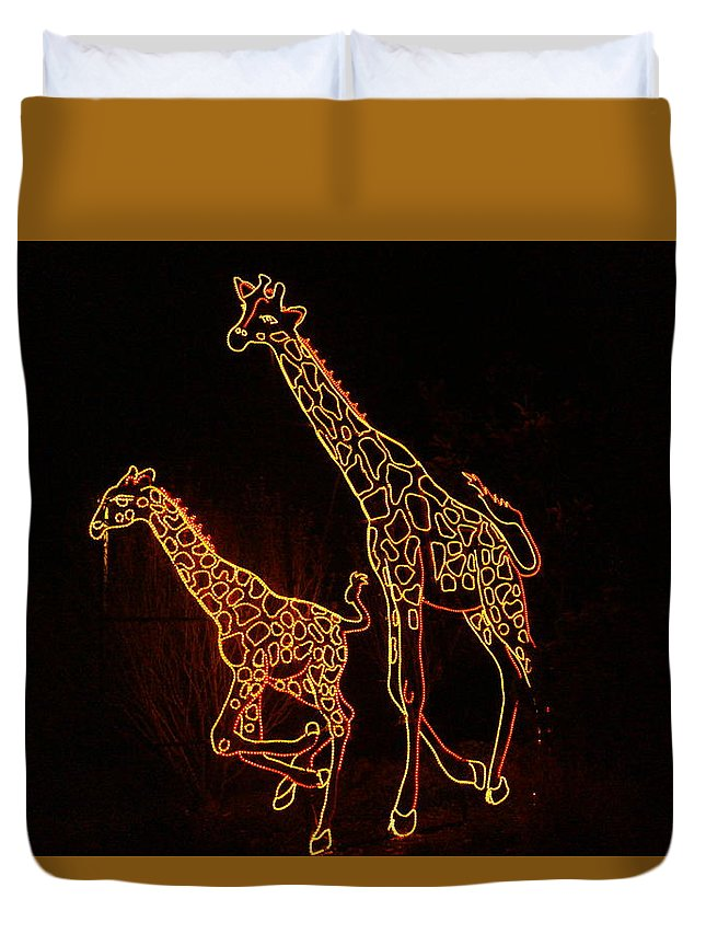 Light Show Duvet Cover featuring the photograph Giraffes Light Show by Jeff Swan