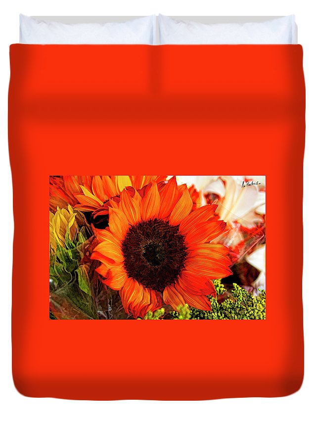 Southamerica Duvet Cover featuring the photograph Girasol Naranja by Alexis Puertas
