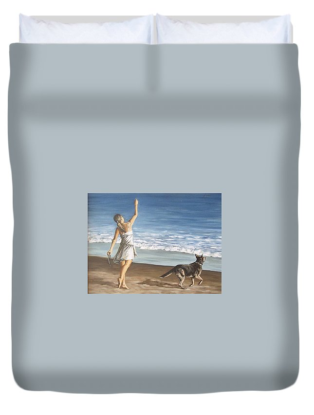 Portrait Girl Beach Dog Seascape Sea Children Figure Figurative Duvet Cover featuring the painting Girl And Dog by Natalia Tejera