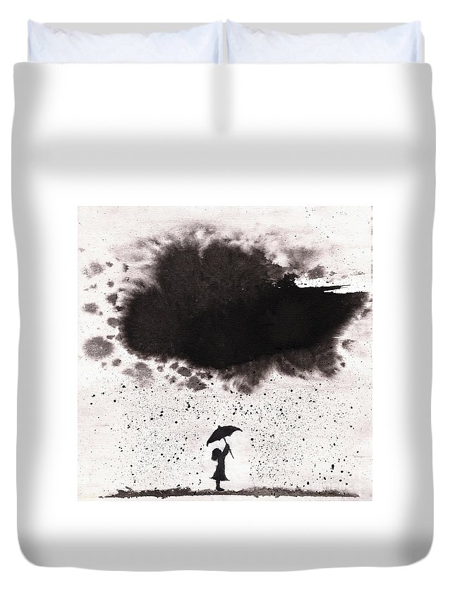 Ink Duvet Cover featuring the painting Girl And Ink Cloud Rain by Spencer Whalen