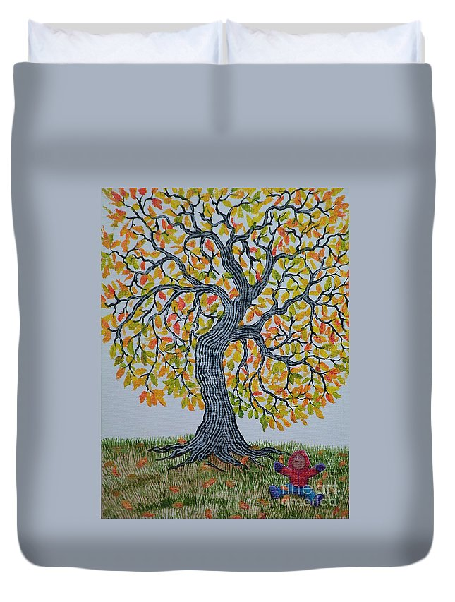 Girl Duvet Cover featuring the painting Girl And Leafs by Nick Gustafson