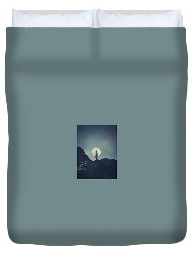 Girl Duvet Cover featuring the photograph Girl And The Moon by Mark Owen