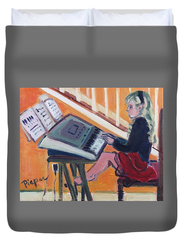 Girl With Piano Duvet Cover featuring the painting Girl At Keyboard by Betty Pieper